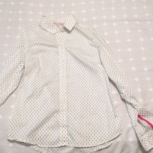 EUC Black and white dotted collared shirt